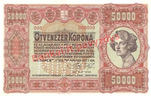 50000 Koronų banknoto priekinė pusė