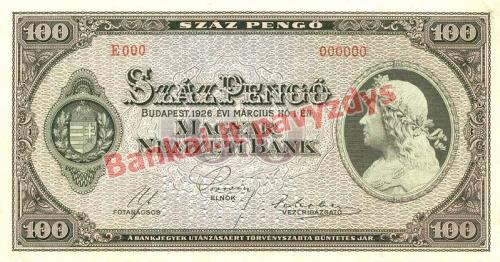 100 Pengų banknoto priekinė pusė