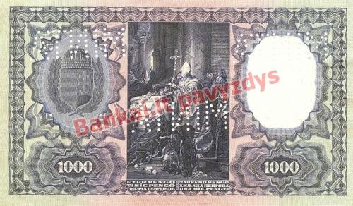 1000 Pengų banknoto galinė pusė