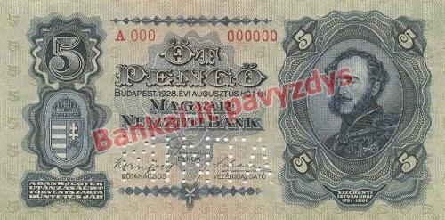 5 Pengų banknoto priekinė pusė