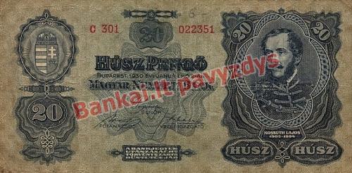 20 Pengų banknoto priekinė pusė