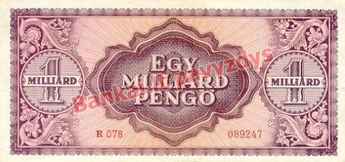 1000000000 Pengų banknoto galinė pusė