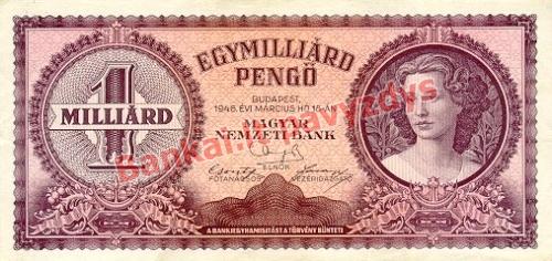 1000000000 Pengų banknoto priekinė pusė
