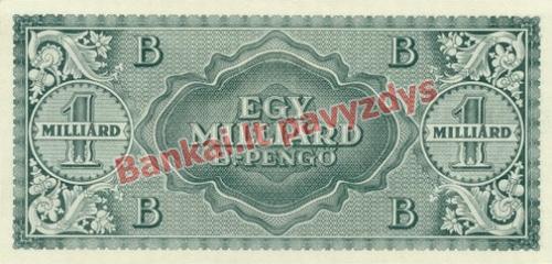1000000000 B. Pengų banknoto galinė pusė