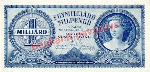 1000000000 Milpengų banknoto priekinė pusė
