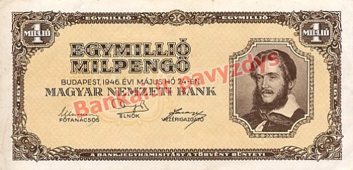 1000000 Milpengų banknoto priekinė pusė