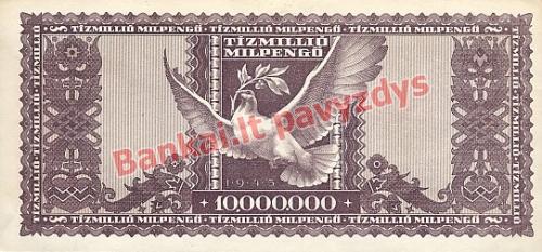 10000000 Milpengų banknoto galinė pusė