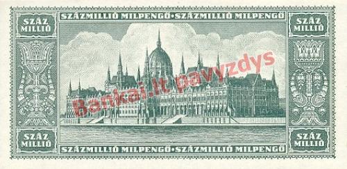 100 Mil. Mil. Pengų banknoto galinė pusė