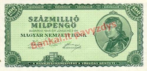 100 Mil. Mil. Pengų banknoto priekinė pusė