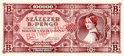 100000 B. Pengų banknoto priekinė pusė