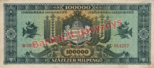 100000 Milpengų banknoto galinė pusė