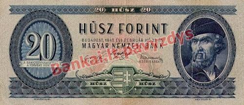 20 Forintų banknoto priekinė pusė