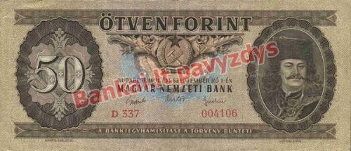 50 Forintų banknoto priekinė pusė