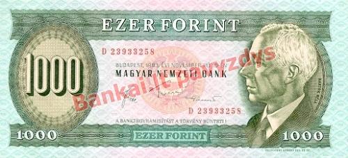 1000 Forintų banknoto priekinė pusė