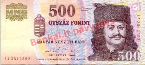 500 Forintų banknoto priekinė pusė
