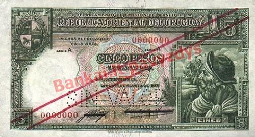 5 Pesų banknoto priekinė pusė