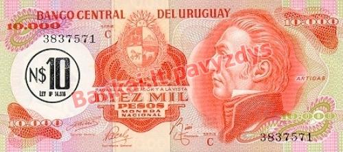 10 Nuevo Pesų banknoto priekinė pusė