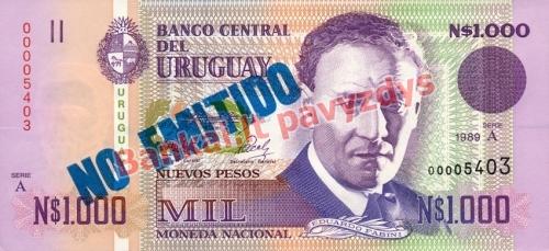 1000 Naujųjų solių banknoto priekinė pusė
