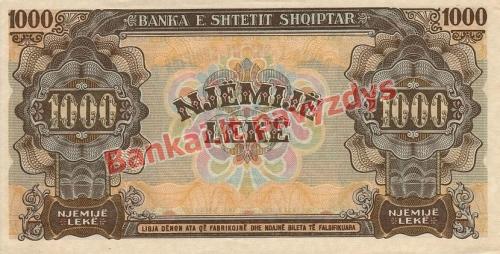 1000 Lekų banknoto galinė pusė