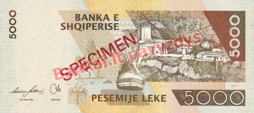 5000 Lekų banknoto galinė pusė