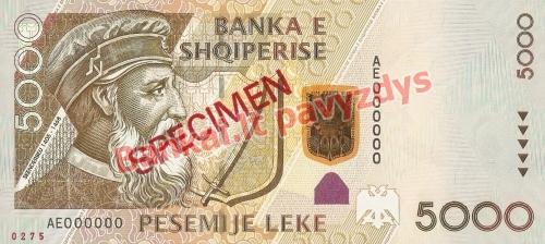 5000 Lekų banknoto priekinė pusė