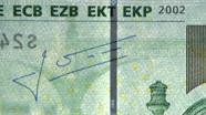 100 eurų siūlelis iš arti