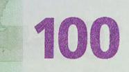 100 eurų spalvą keičiantis skaičius