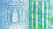 100 eurų vandens ženklas iš arti
