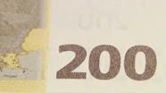 200 eurų spalvą keičiantis skaičius, pasikeitęs