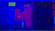 200 eurų ultravioletinis banknoto vaizdas