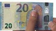 20 eurų nauji banknotai su nelygiu paviršiumi Nr. 1