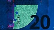 20 eurų ultravioletinis banknoto vaizdas kita pusė