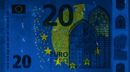 20 eurų ultravioletinis banknoto vaizdas Nr. 1