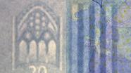 20 eurų vandens ženklas iš arti
