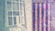500 eurų vandens ženklas iš arti