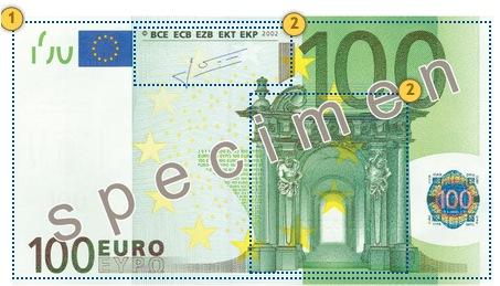 Apčiuopkite 100 eurų, apsaugos požymiai