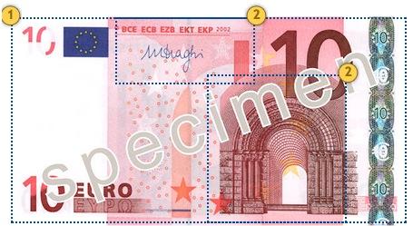 10 eurų banknotas. Apčiuopkite.