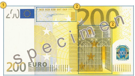 Apčiuopkite 200 eurų, apsaugos požymiai