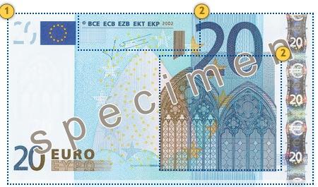 20 eurų banknotas. Apčiuopkite.