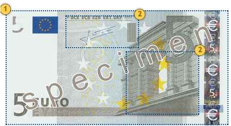 Senieji 5 eurų banknotai. Apčiuopkite.