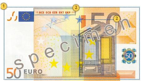 50 eurų banknotas. Apčiuopkite.