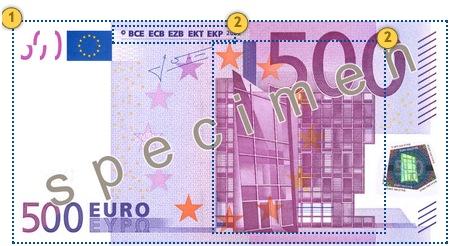 Apčiuopkite 500 eurų, apsaugos požymiai