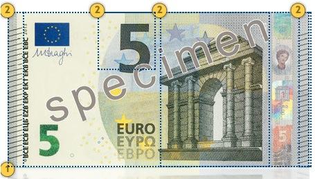 Naujieji 5 eurų banknotai. Apčiuopkite.