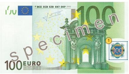 Pakreipkite 100 eurų, apsaugos požymiai