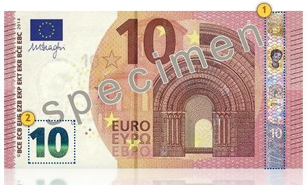 Naujasis 10 eurų banknotas. Pakreipkite.