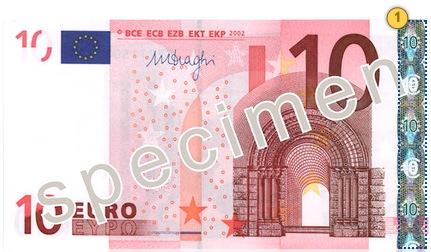 10 eurų banknotas. Pakreipkite.