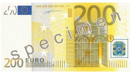 Pakreipkite 200 eurų, apsaugos požymiai
