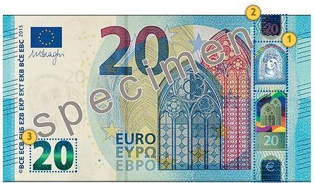 Naujas 20 eurų banknotas. Pakreipkite.