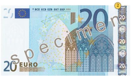 20 eurų banknotas. Pakreipkite.