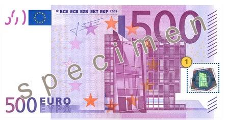 Pakreipkite 500 eurų, apsaugos požymiai